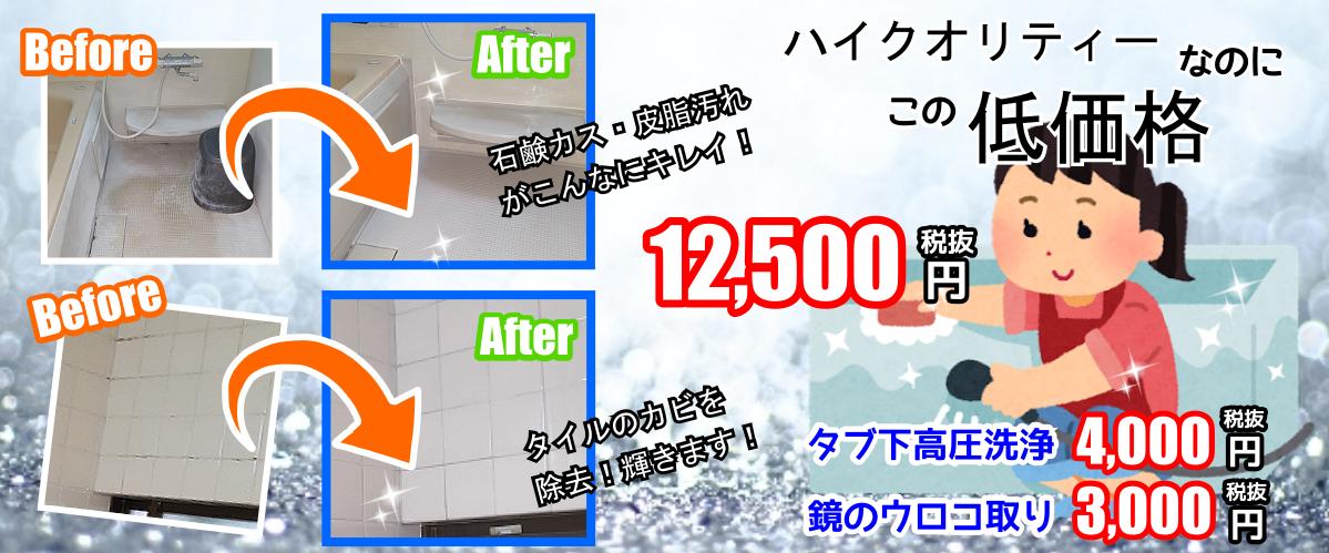 ハイクオリティーなのに、こんなに低価格な浴室クリーニング